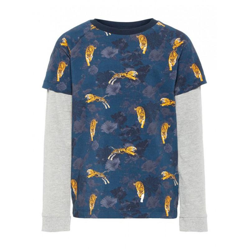 Памучна блуза с дълъг ръкав и щампа на тигърчета за момче  4068
