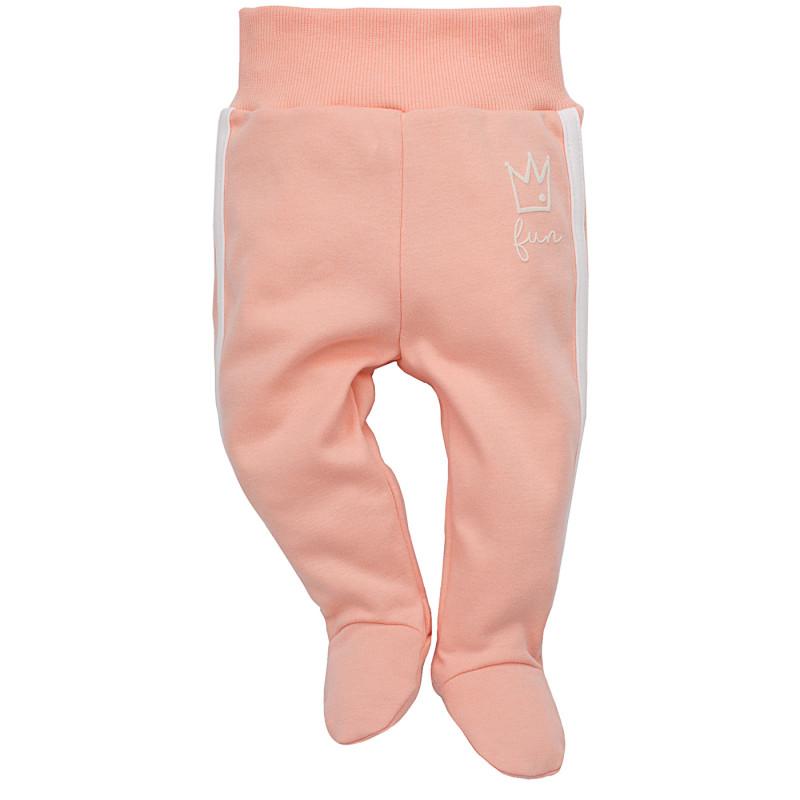 Памучни ританки с широк ластик и малък принт за бебе момиче  40879