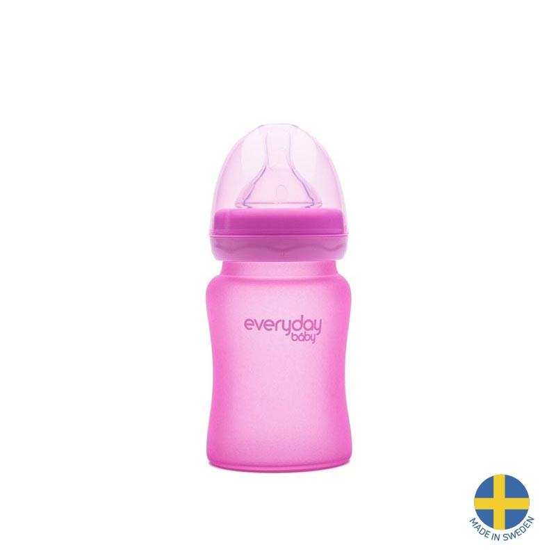 Стъклено шише с променящ се цвят при горещина, с биберон 1 капка, 0-3 месеца, 150 мл, цвят: розов  40963