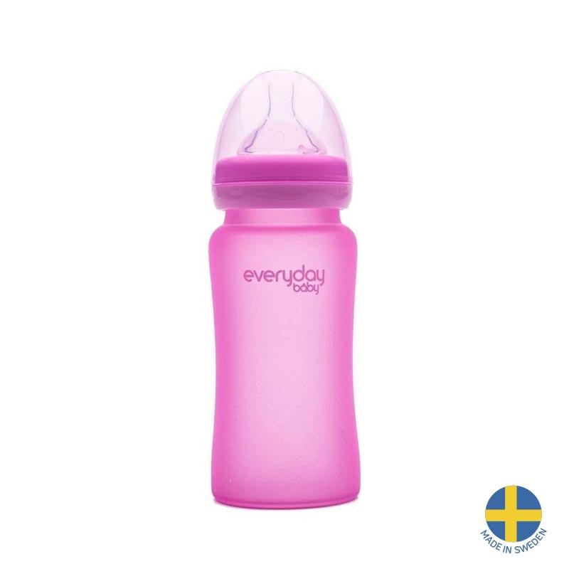 Стъклено шише с променящ се цвят при горещина, с биберон 2 капки, 3-6 месеца, 240 мл, цвят: розов  40966