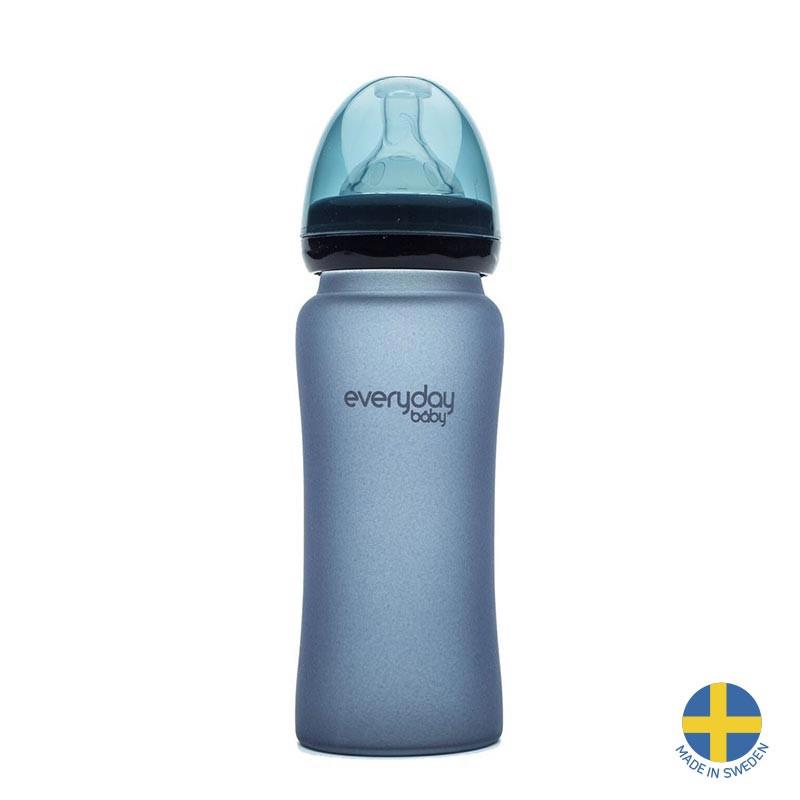 Стъклено шише с променящ се цвят при горещина, с биберон 3 капки, 6+ месеца, 300 мл, цвят: лилав  40971