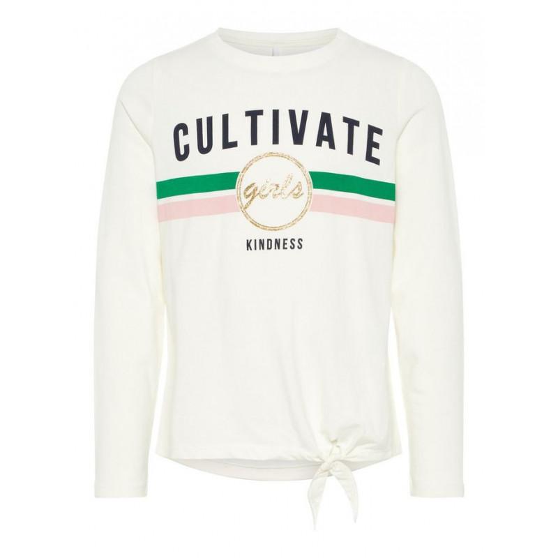 Памучна блуза с дълъг ръкав CULTIVATE за момиче, бяла  4110
