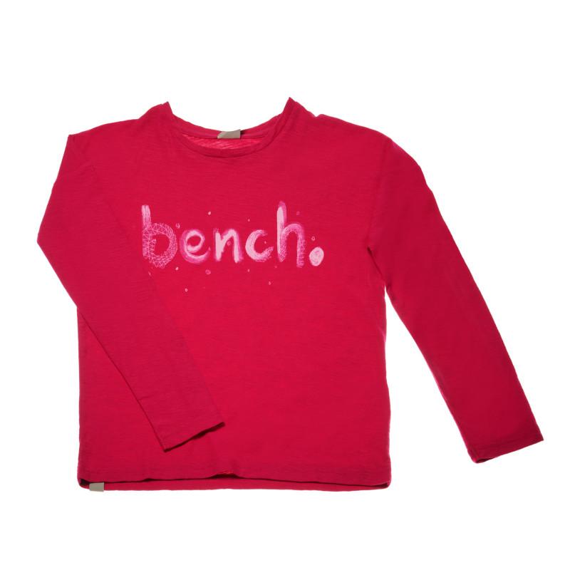 Блуза с дълъг ръкав за момиче и надпис на бранда, червена  42250