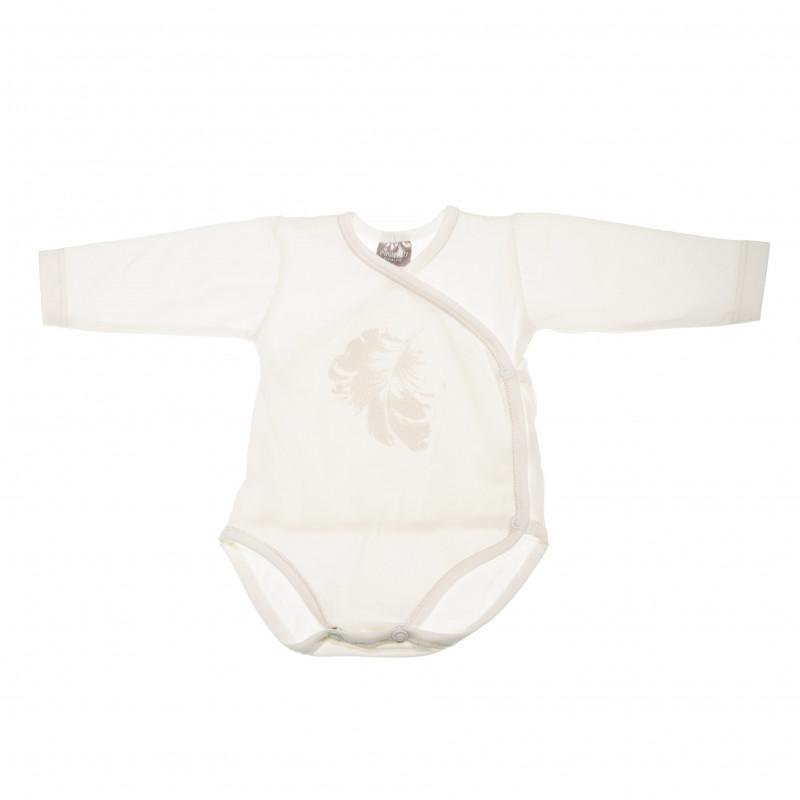 Памучно боди с дълъг ръкав и деликатен принт на сребристи пера за бебе момиче  42461