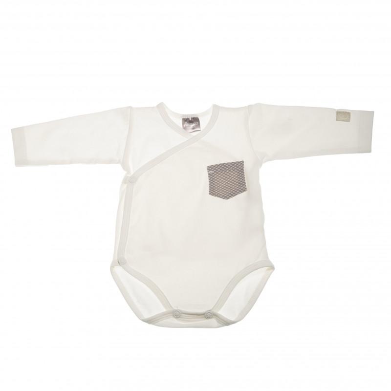 Памучно боди с дълъг ръкав и джобче за бебе момче  42462