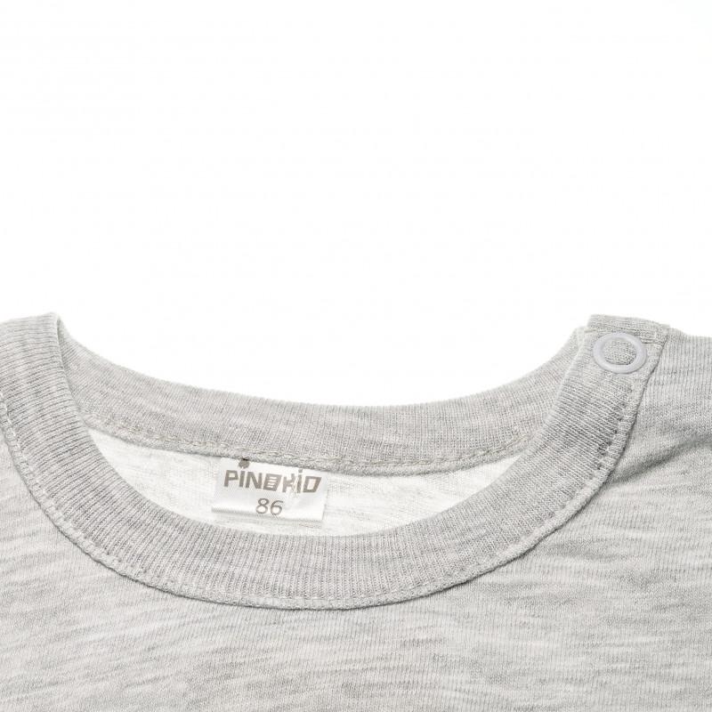 Памучна блуза с дълъг ръкав с апликация черно коте за бебе момиче  42576