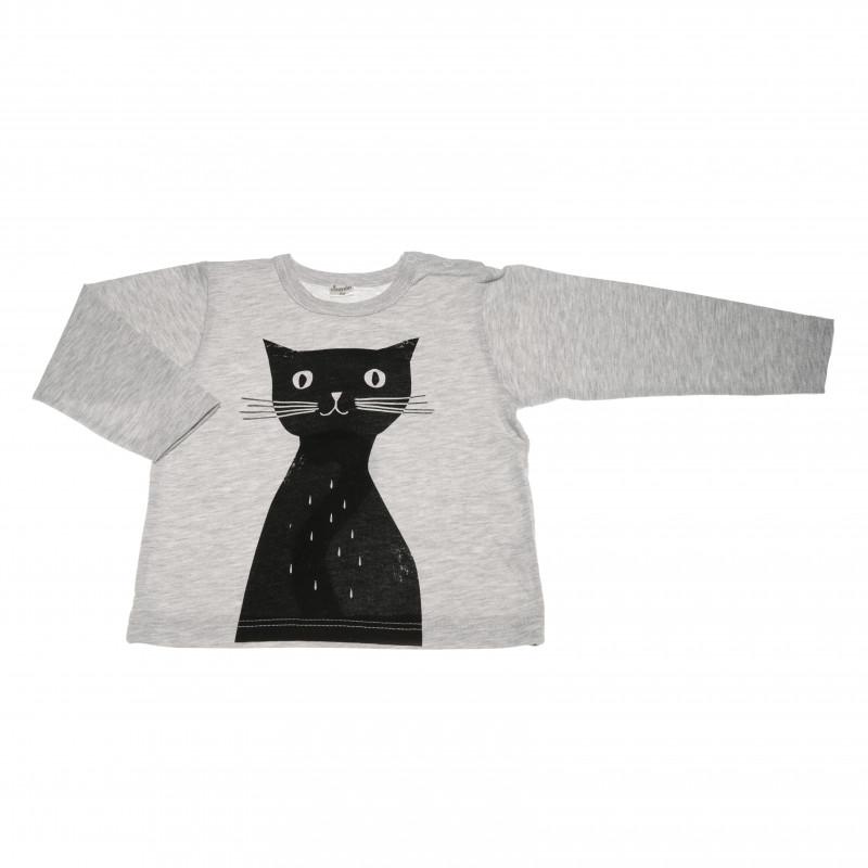 Памучна блуза с дълъг ръкав с апликация черно коте за бебе момиче  42577