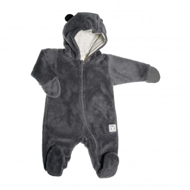 Памучен космонавт с качулка с мечешки ушички и ръкавички за бебе момиче  42596