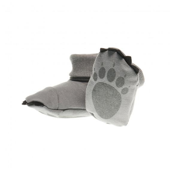 Памучни меки буйки мечешка лапа в сиво за бебе - унисекс Pinokio 43712 2