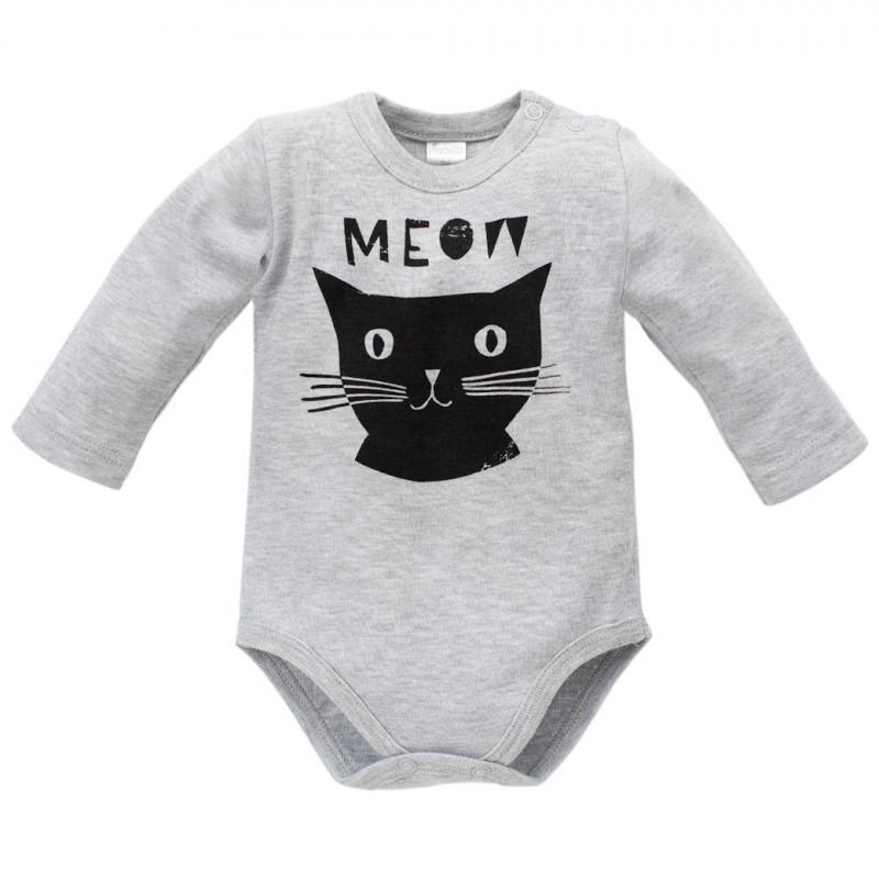 Памучно боди с дълъг ръкав за бебе и щампа на коте - унисекс  44296
