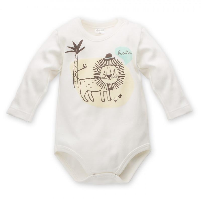 Памучно боди с дълъг ръкав и щампа на лъвче за бебе - унисекс  44298