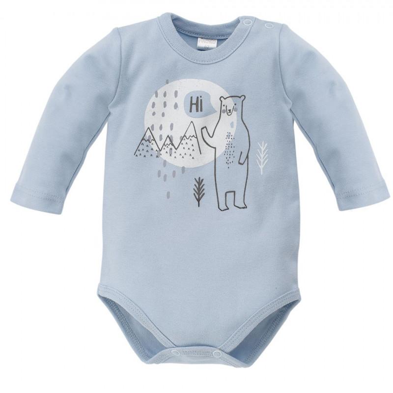 Памучно боди с дълъг ръкав и весел принт на полярна мечка за бебе - унисекс  44300