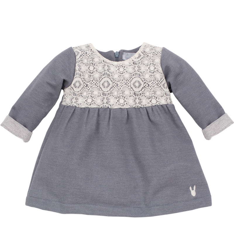 Памучна рокля с дълъг ръкав за бебе  44391