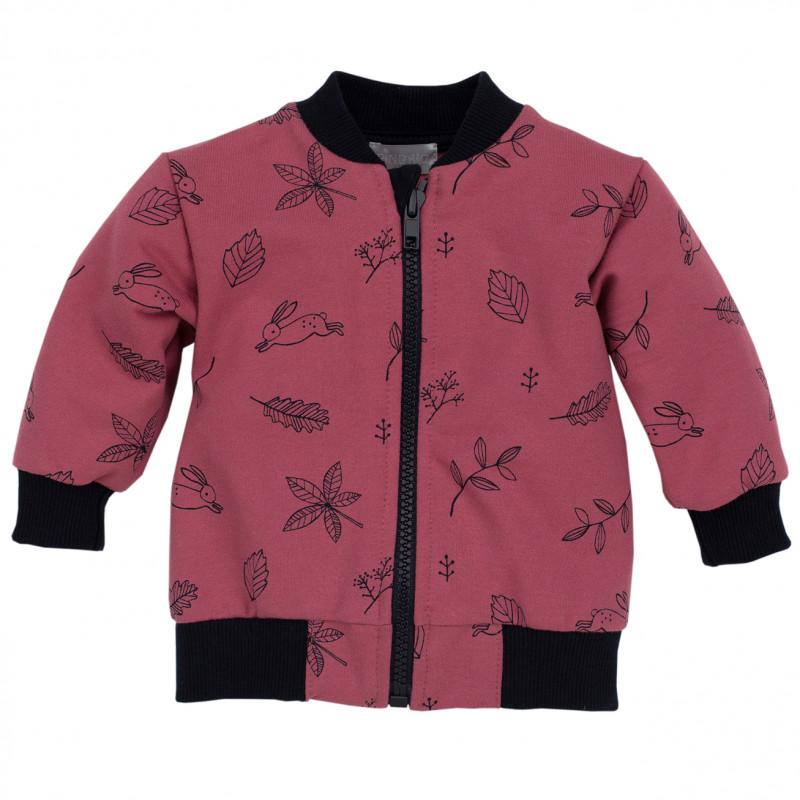 Памучен суитчър с принт за бебе за момиче розов  44392