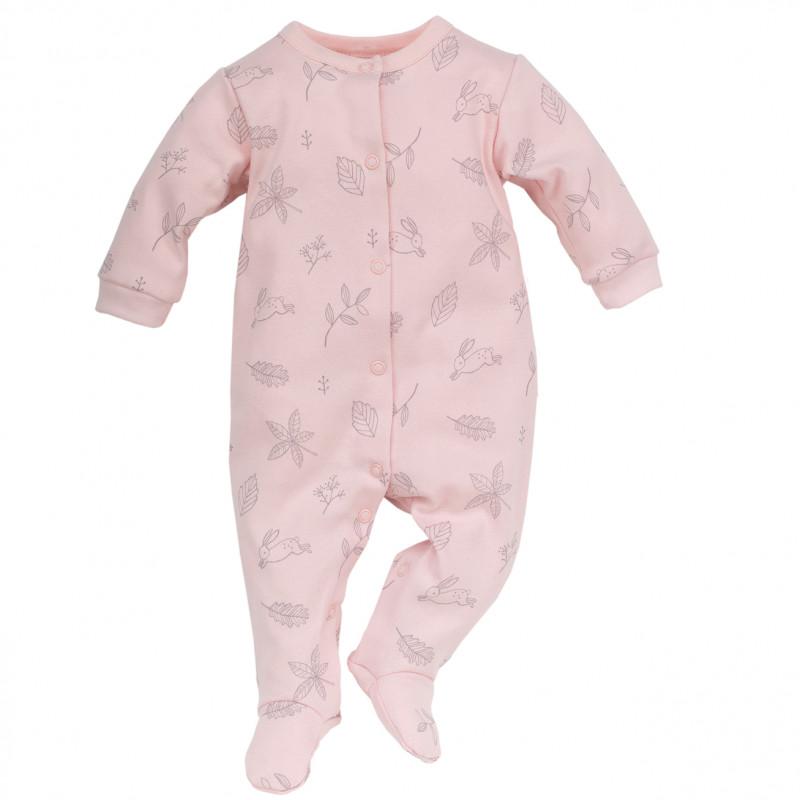 Памучен гащеризон със сив релефен принт за бебе момиче  44394