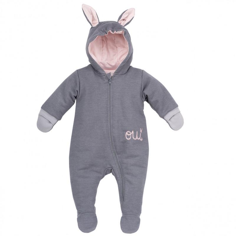 Памучен космонавт с качулка със заешки ушички и ръкавички за бебе момиче  44395