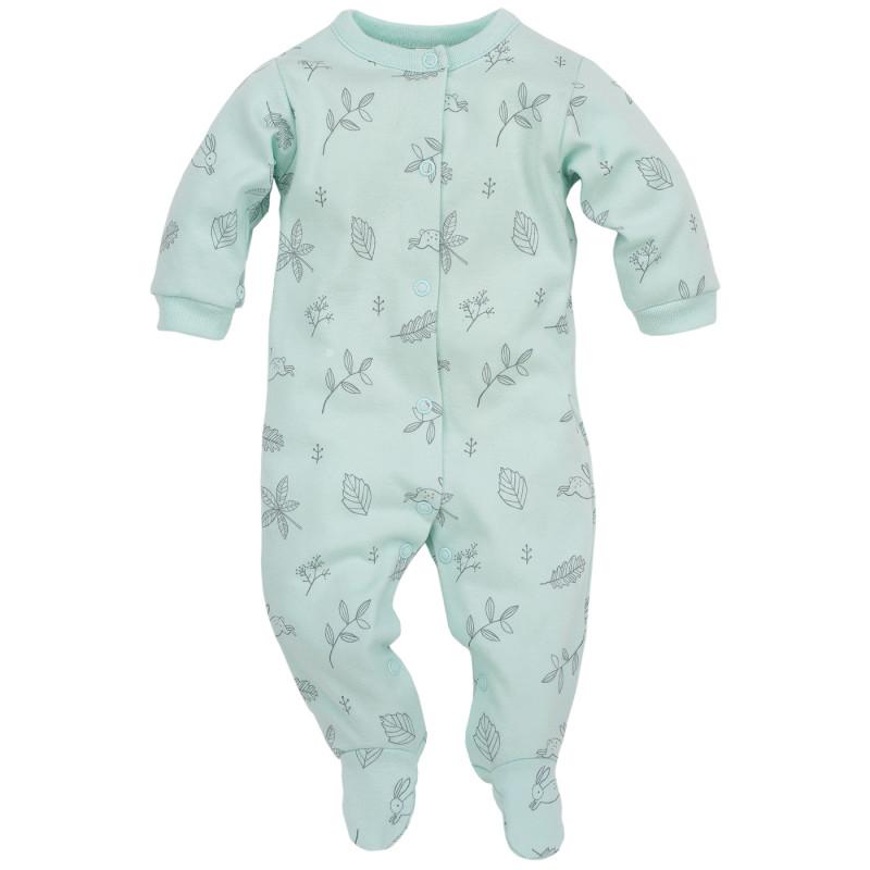 Памучен гащеризон с дълъг ръкав и нежен сив принт за бебе момиче  44396