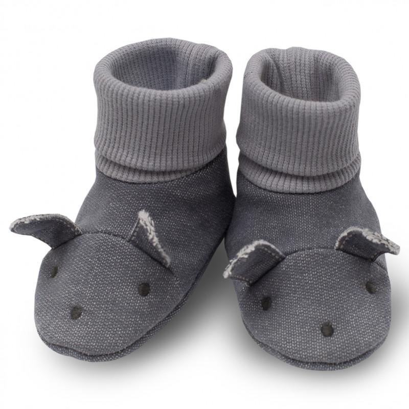 Памучни меки буйки за бебе с ушички- унисекс  44398
