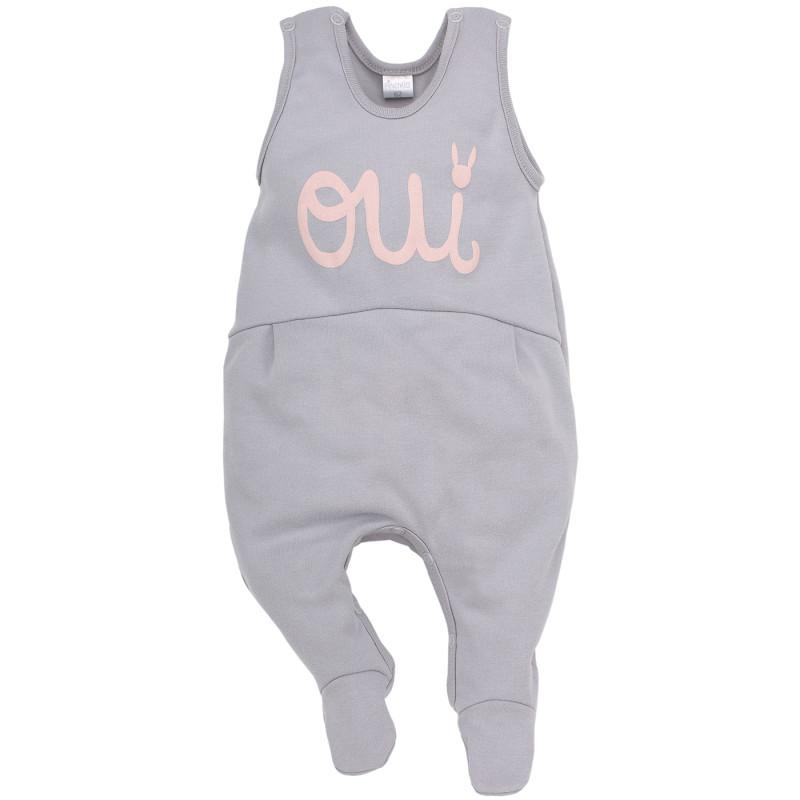 Памучен гащеризон без ръкав с релефна сива щампа за бебе момиче  44399