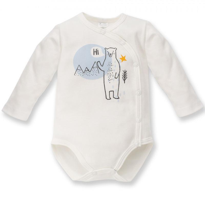 Памучно боди с дълъг ръкав и весел принт на полярна мечка за бебе - унисекс, бяло  44428