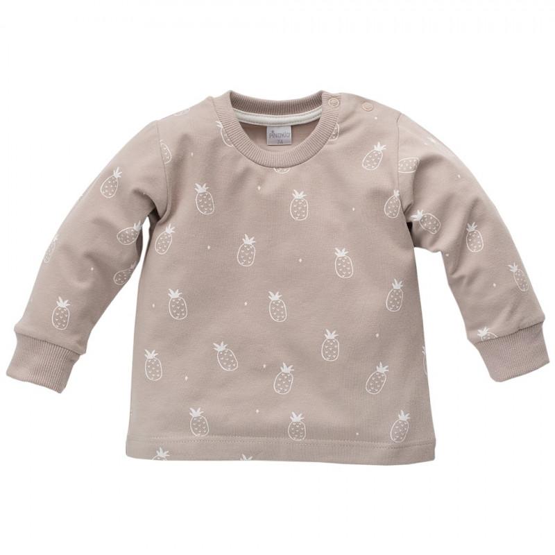 Памучна блуза с дълъг ръкав и щампа на ананаси за бебе - унисекс  44472