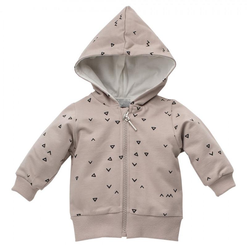 Памучен суитшърт с принт на триъгълничета за бебе унисекс  44473