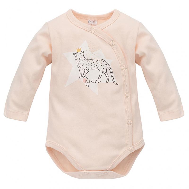 Памучно боди с дълъг ръкав и принт на пантера за бебе момиче  44492