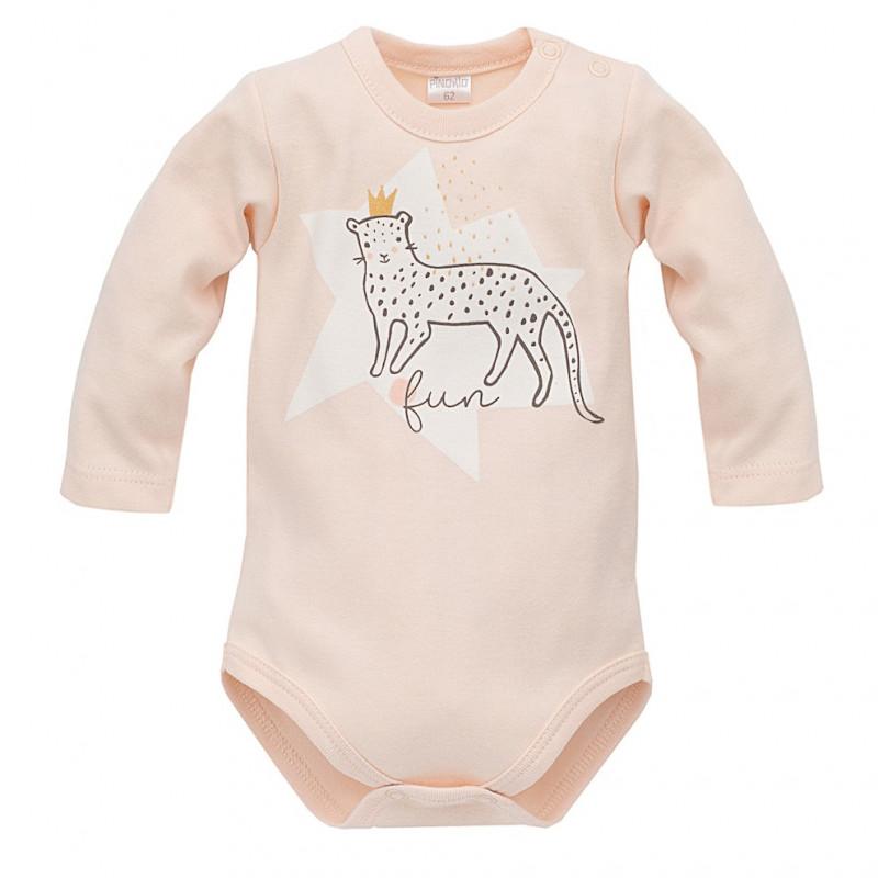 Памучно боди с дълъг ръкав  и забавен принт на пантера с корона за бебе момиче  44493