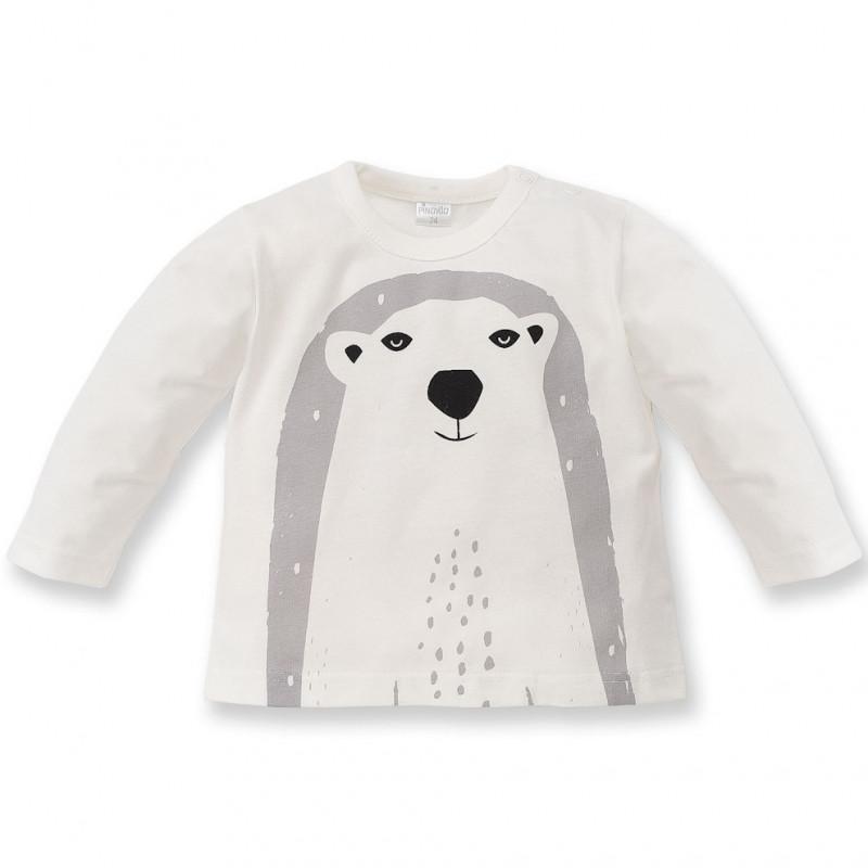 Памучна блуза с дълъг ръкав и принт на полярна мечка за бебе - унисекс  44494