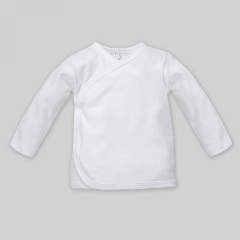 Памучна жилетка с дълъг ръкав в бяло за бебе - унисекс  44495