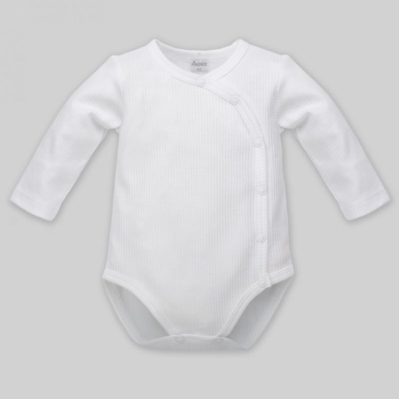 Памучно боди с дълъг ръкав за бебе - унисекс, бяло  44497