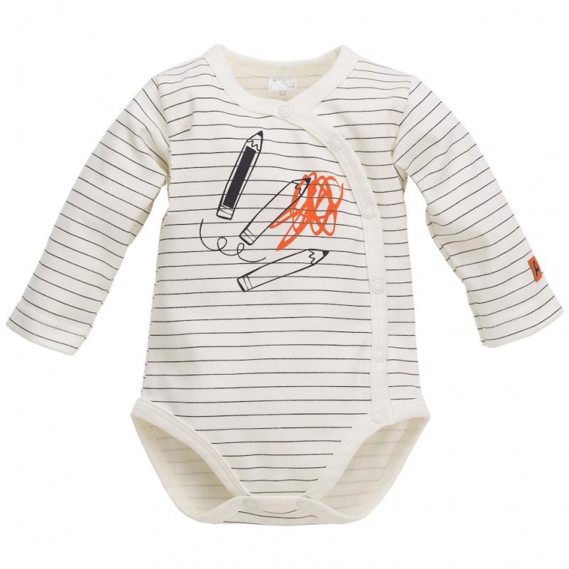 Памучно боди с дълъг ръкав и принт за бебе - унисекс  44498