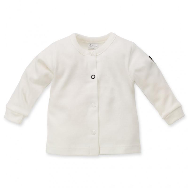 Памучна бяла жилетка с дълъг ръкав за бебе - унисекс  44502