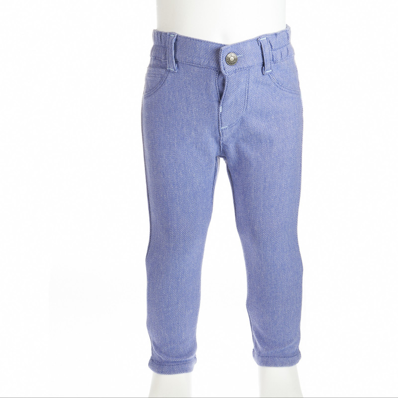 Панталон в син цвят тип деним за бебе момиче  4765