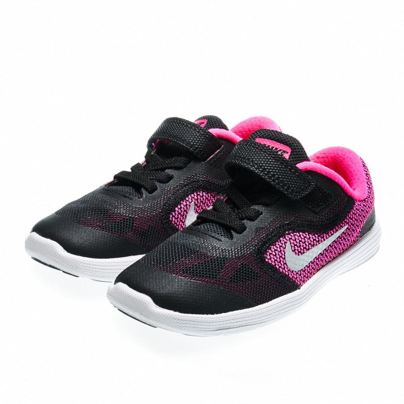 Маратонки с мрежест горен слой за момиче, черно-розови  49109