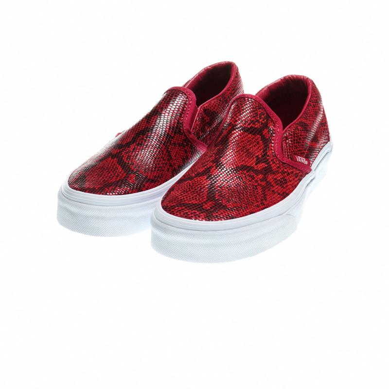 Гуменки със змийски принт за момиче, червени  49165