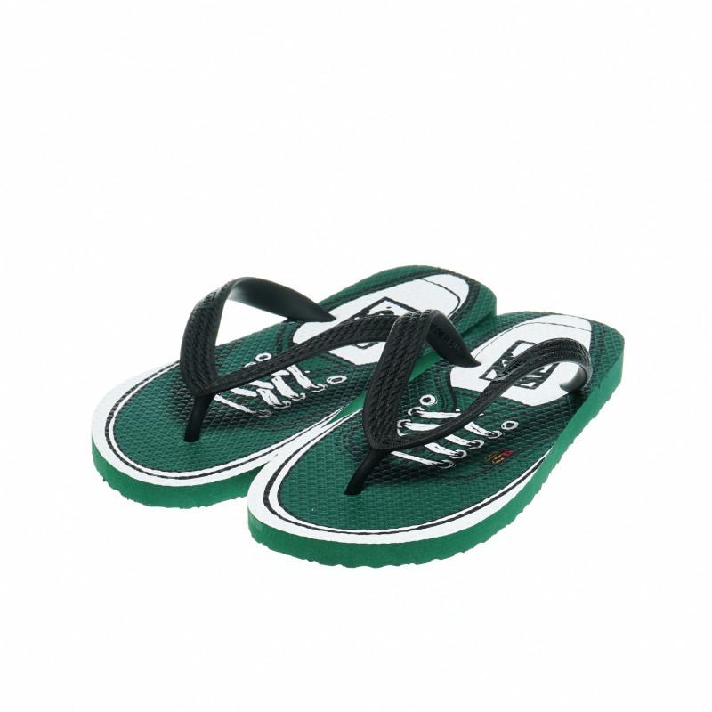 Джапанки с принт, имитиращ гуменки, за момче, зелени  49313