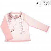 Памучна блуза с дълъг ръкав за бебе момиче Armani 50588