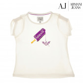 Памучна блуза с къс ръкав за момиче Armani 50603