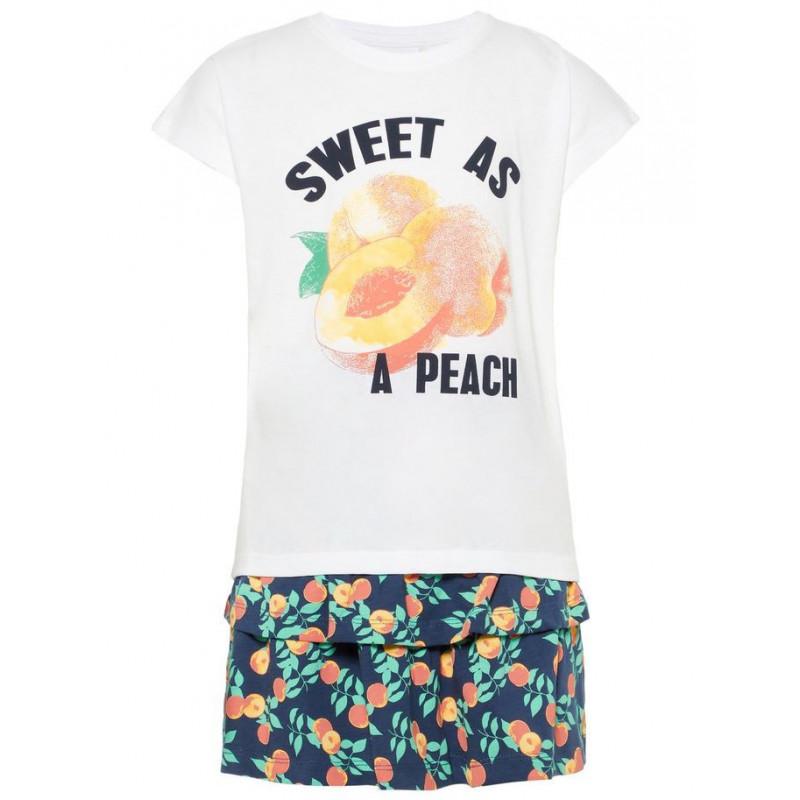 Комплект памучни пола и блуза с принт на праскови за момиче  50776