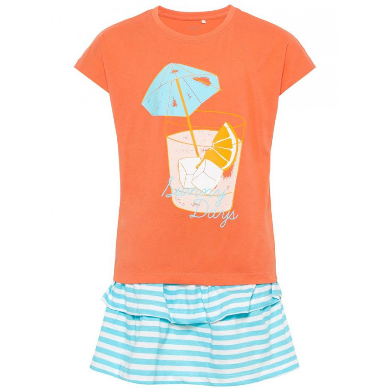 Комплект памучни пола и блуза с принт на летен коктейл за момиче  50782