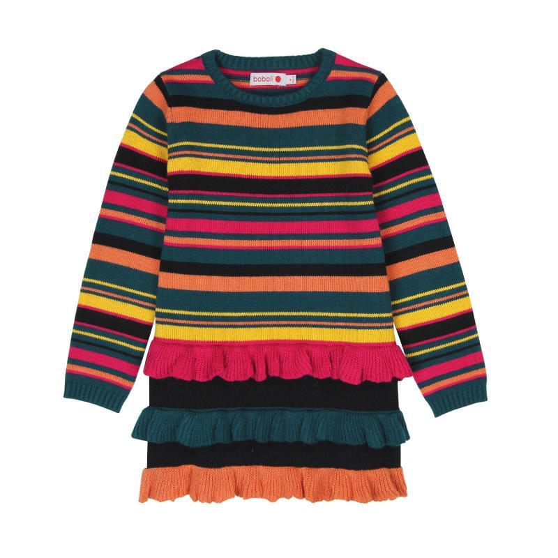 Плетена рокля в многоцветно райе  516