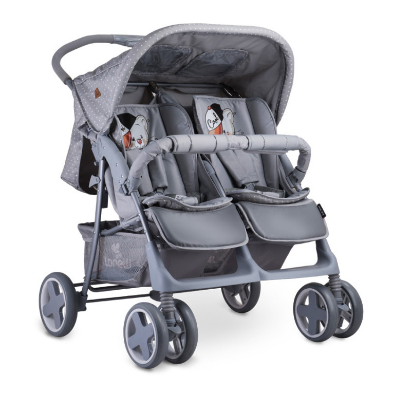 количка за близнаци TWIN с летен кош Grey COOL CAT унисекс  53786