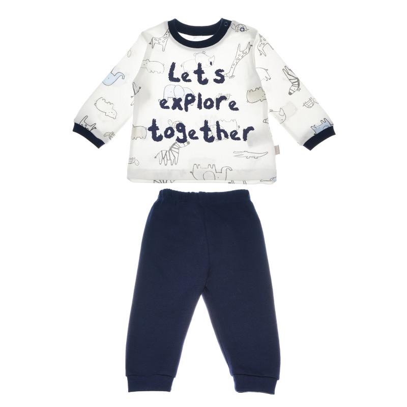 Памучна пижама с дълъг ръкав и нежен принт и щампа за бебе момче  54512