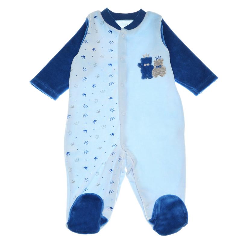 Плюшен гащеризон с дълъг ръкав и принт за бебе момче  55082