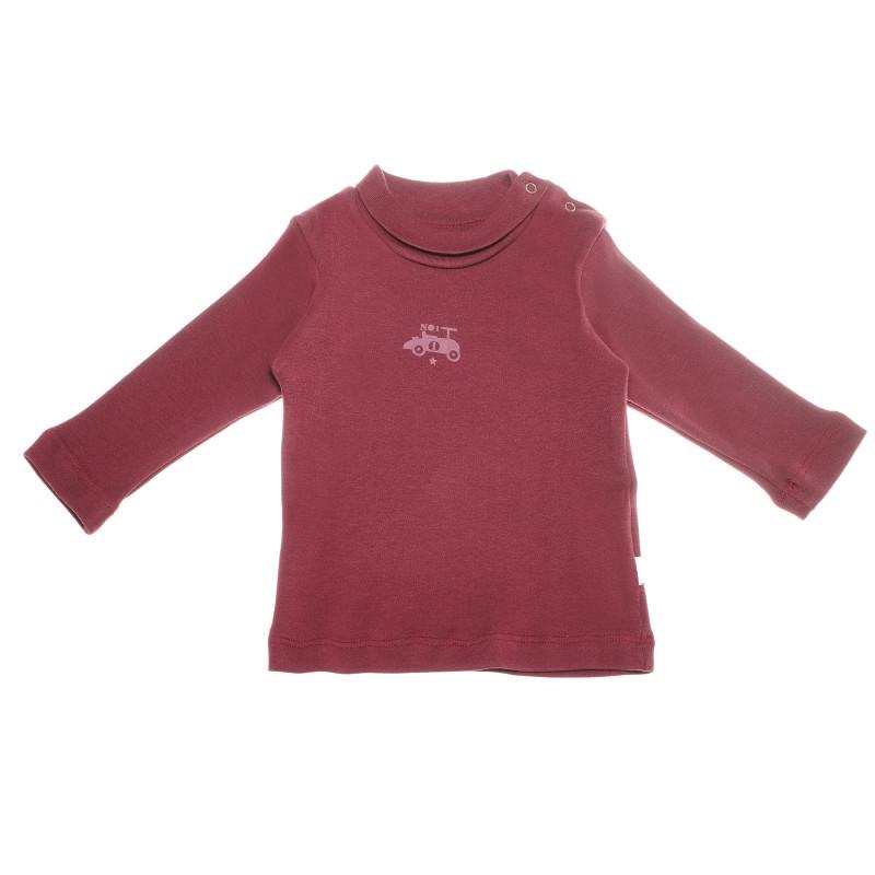 Памучна блуза с дълъг ръкав и малка щампа за бебе момче, червена  55093