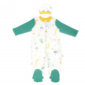 Памучен гащеризон с шапка и дълъг ръкав за бебе - унисекс Bebetto 55115