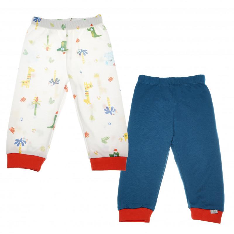 Комплект памучни панталони за бебе момче, син и с принт  55269