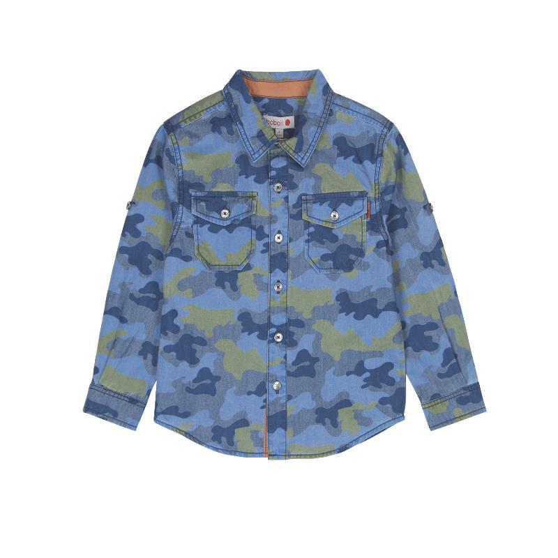 Риза с дълъг ръкав за момче с камуфлажен принт  572
