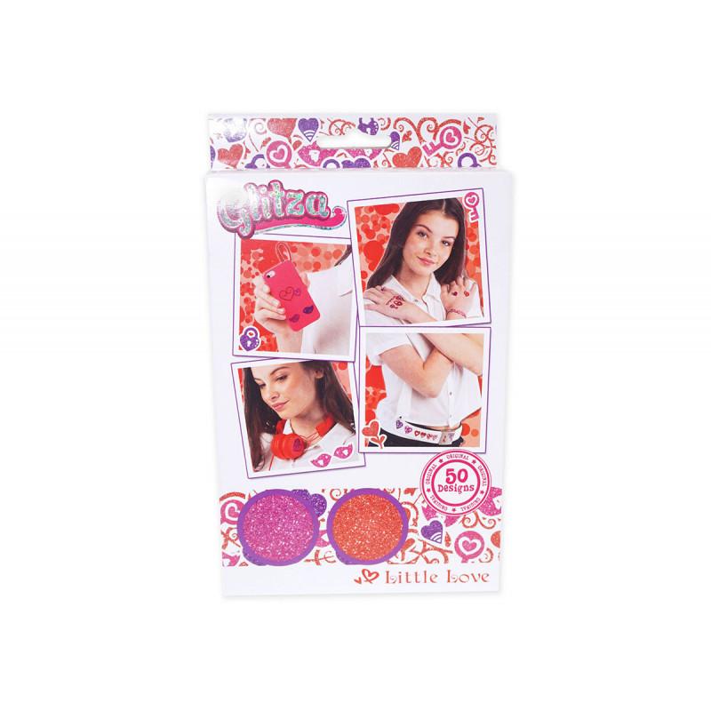 Комплект брокати- 2 цвята бои и 50 дизайна сърца  6033